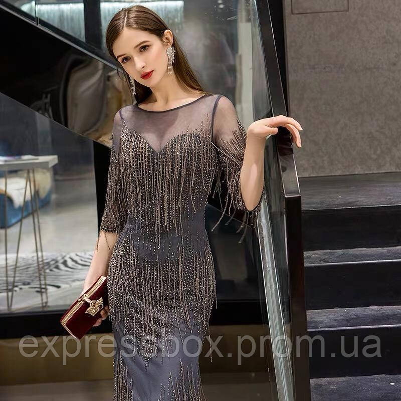 Вечернее платье. Выпускное платье. Вечірня сукня. Платье рыбка ручной работы из бисера