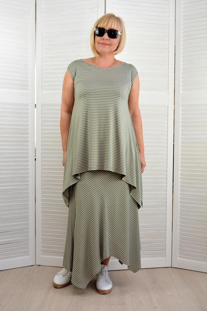 Комплект: Туника и юбка в полоску - Модель Л607-2+Л354-2 - 50 размер