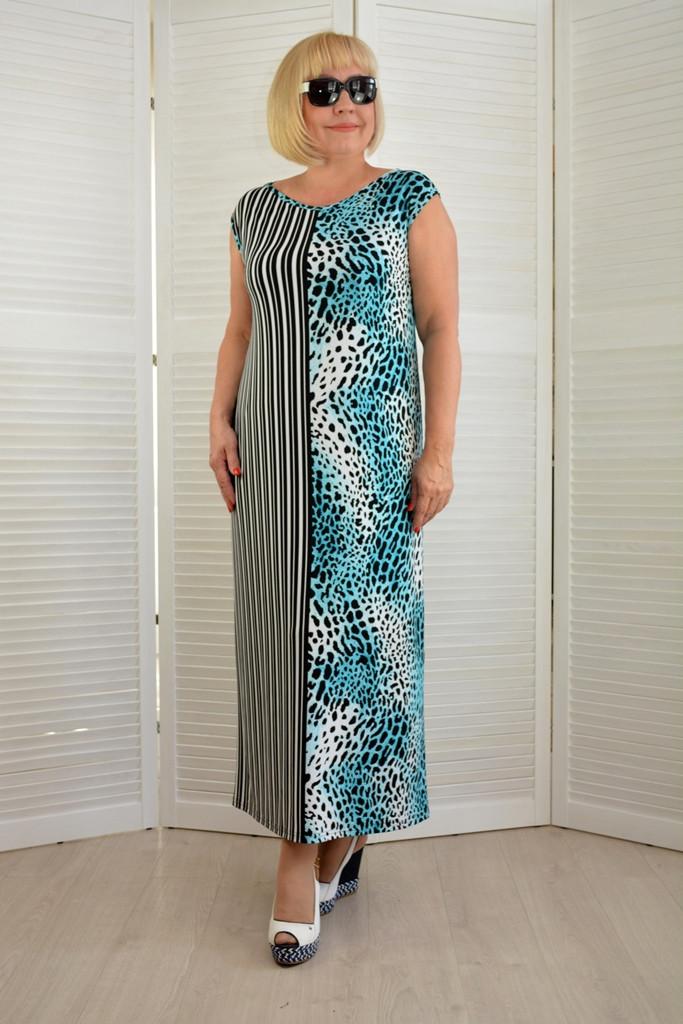 Платье макси леопард+полоска - Модель Л607-3 - 50 размер