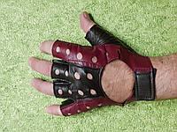 Перчатки без пальцев, кожаные, М, чёрно-вишнёвые