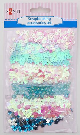 Набор декоративных украшений для скрапбукинга, 6шт/уп., розово-голубой                    , фото 2
