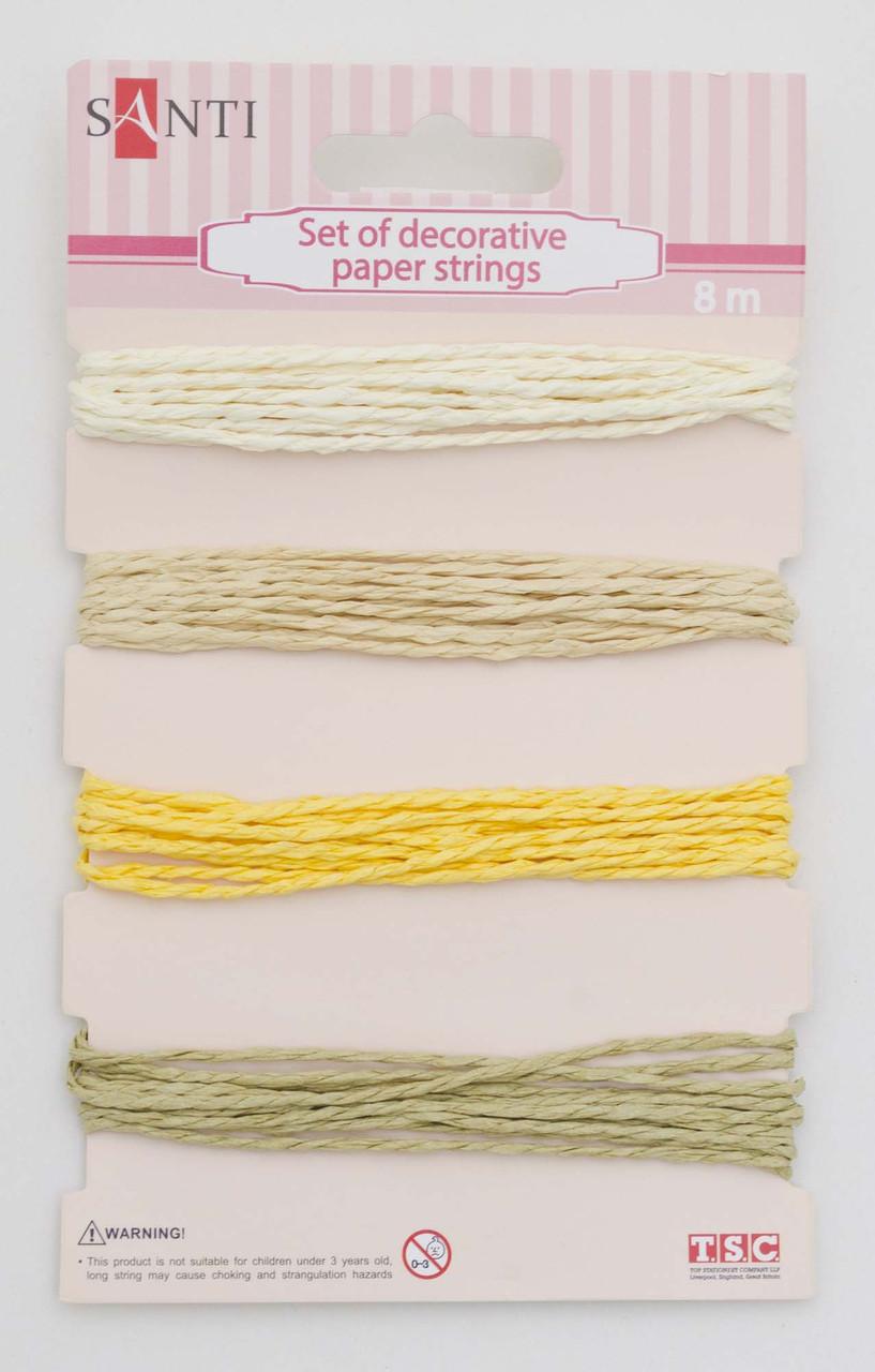 Набор шнуров бумажных декоративных, 4 цвета, 8м/уп., бежевый