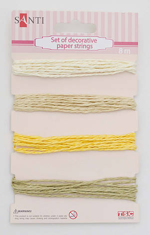 Набор шнуров бумажных декоративных, 4 цвета, 8м/уп., бежевый                              , фото 2