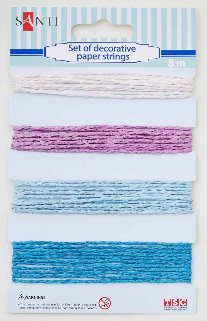 Набор шнуров бумажных декоративных, 4 цвета, 8м/уп., розово-голубой
