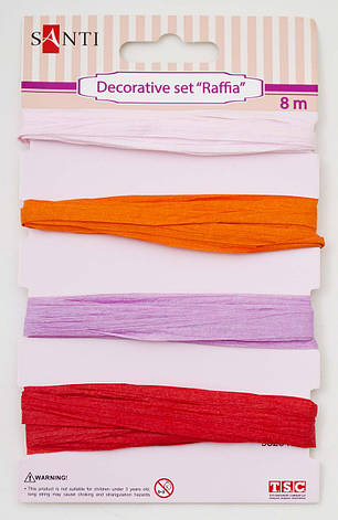 """Набор для декора """"Рафия"""", 4 цвета, 8м/уп., розовый                                        , фото 2"""