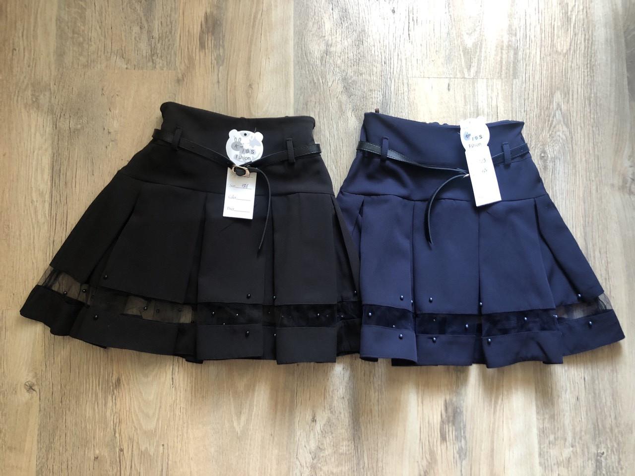 Школьная юбка в складку с поясом
