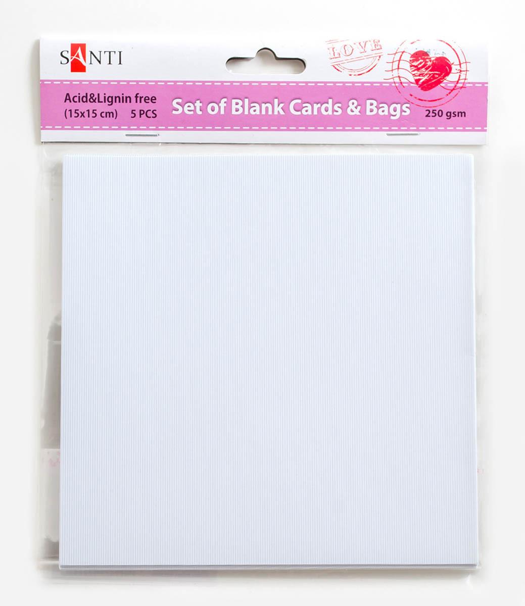 Набор белых текстурированных заготовок для открыток, 15см*15см, 250г/м2, 5шт.