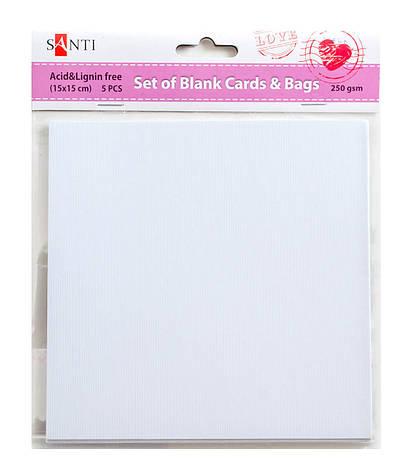 Набор белых текстурированных заготовок для открыток, 15см*15см, 250г/м2, 5шт.             , фото 2