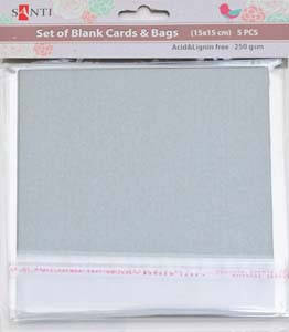 Набор серебристых перламутровых заготовок для открыток, 15см*15см, 250г/м2, 5шт.          , фото 2