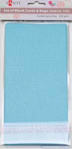 Набор голубых перламутровых заготовок для открыток, 10см*20см, 250г/м2, 5шт.
