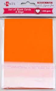 Набор оранжевых заготовок для открыток, 10см*15см, 230г/м2, 5шт.                          , фото 2
