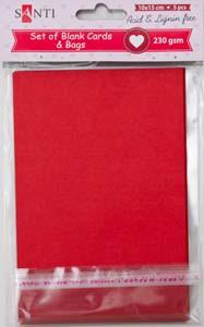 Набор красных заготовок для открыток, 10см*15см, 230г/м2, 5шт.