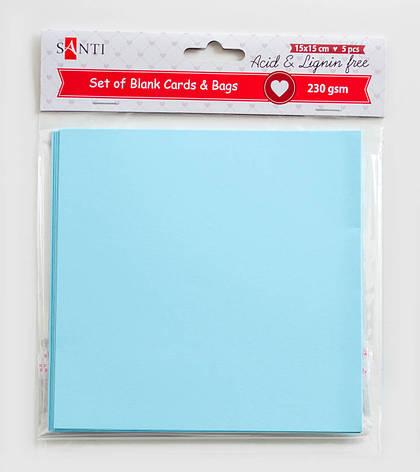 Набор голубых заготовок для открыток, 15см*15см, 230г/м2, 5шт.                            , фото 2