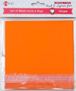 Набор оранжевых заготовок для открыток, 15см*15см, 230г/м2, 5шт.                          , фото 2