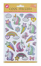 """Набор декоративных стикеров с тиснением фольгой """"Unicorn and rainbow"""", 140*210мм"""