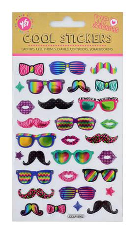 "Набор декоративных стикеров с тиснением ""Glasses"", 100*150 мм                             , фото 2"