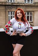 Белая нарядная вышиванка с цветами, фото 1
