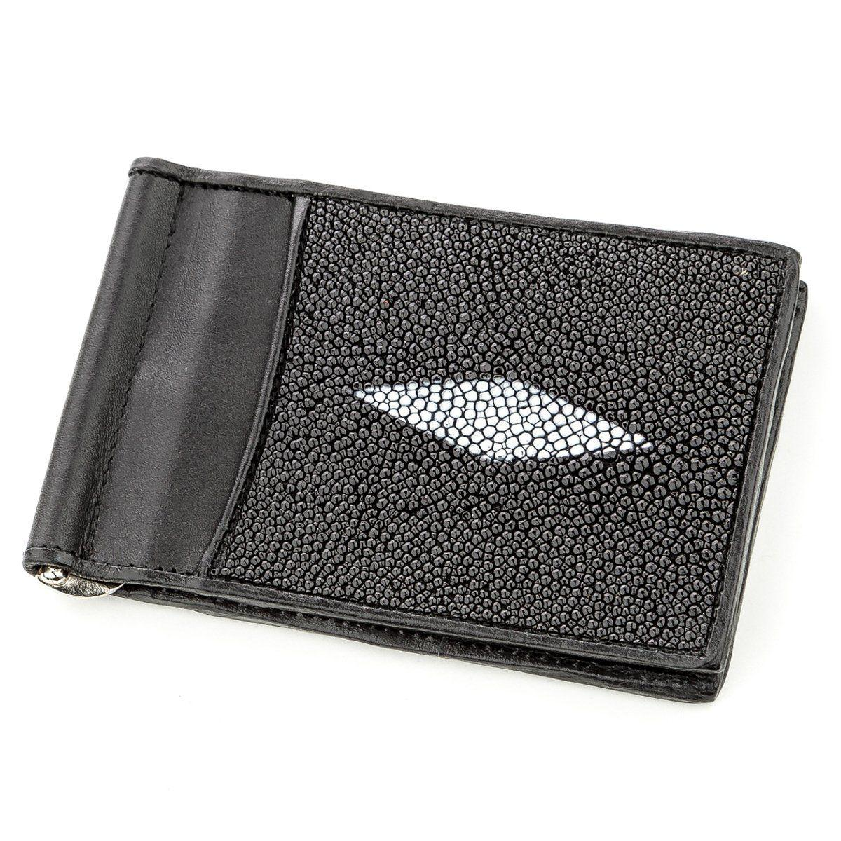 Зажим для денег STINGRAY LEATHER 18559 из натуральной кожи морского ската Черный, Черный