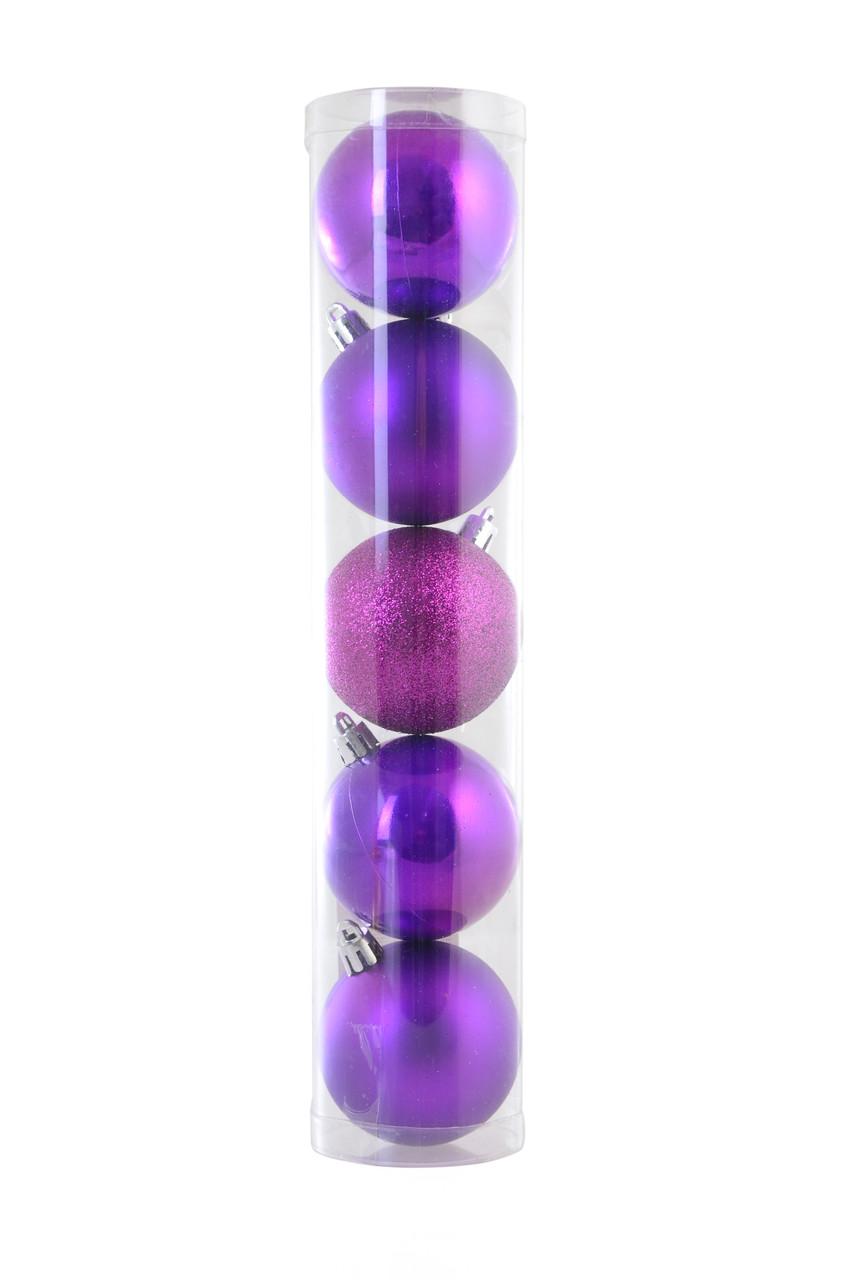 Шар Yes! Fun d - 6 см, 5 шт./уп., фиолетовый светлый: перламутровый - 2, матовый - 2, глит