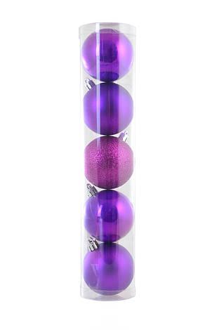 Шар Yes! Fun d - 6 см, 5 шт./уп., фиолетовый светлый: перламутровый - 2, матовый - 2, глит, фото 2