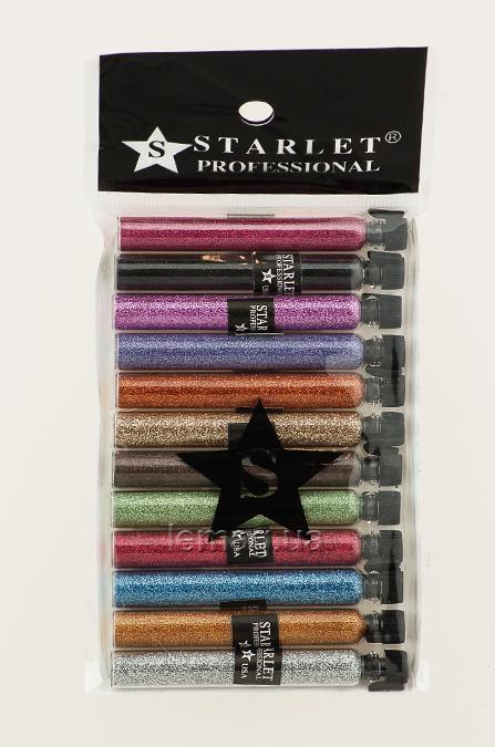 Y.R.E. Starlet Глиттер (песок) для био тату в колбе, набор № 4