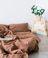 Однотонное постельное белье Страйп-сатин COFFEE, Турция