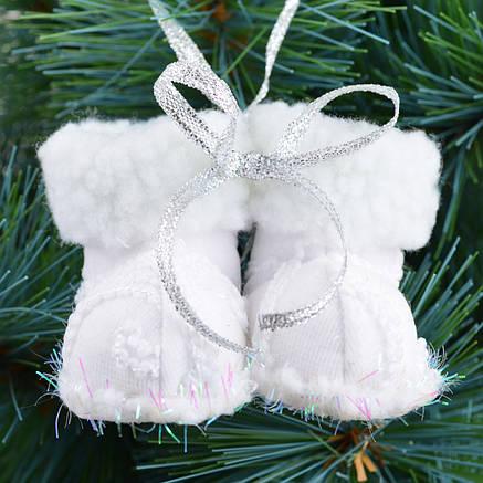 """Новогодняя подвеска Yes! Fun """"Сапожки"""", белая, h-6 см                                     , фото 2"""