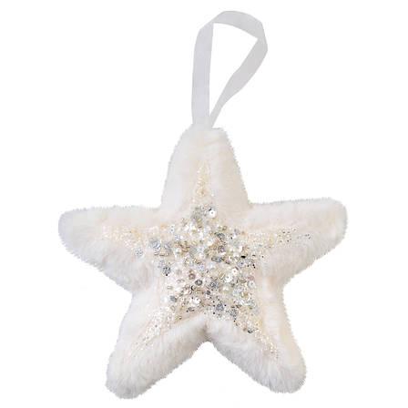 Звезда Yes! Fun пушистая кремово-белая с декором, 16*16 см, фото 2