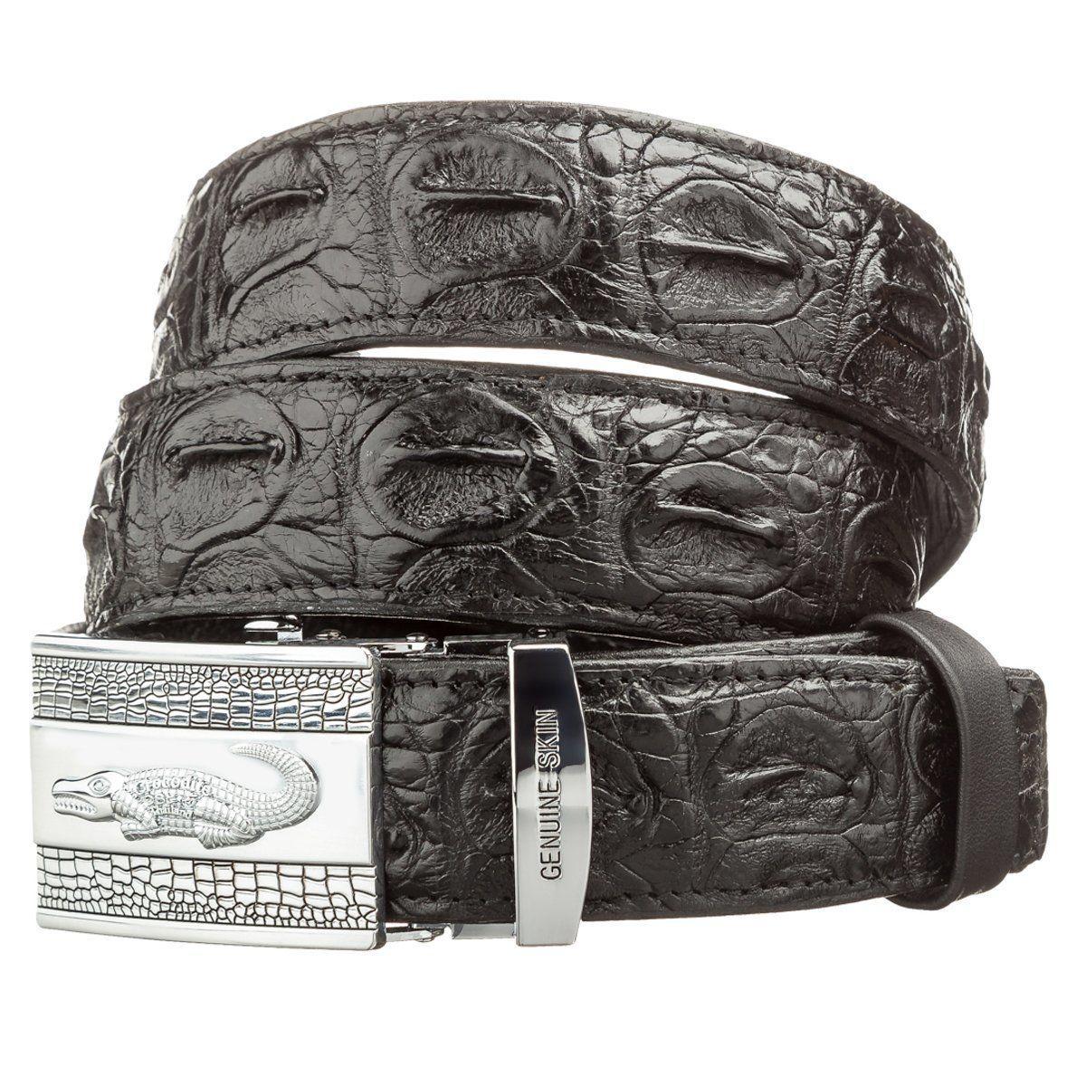 Ремень автоматический CROCODILE LEATHER 18605 из натуральной кожи крокодила Черный, Черный