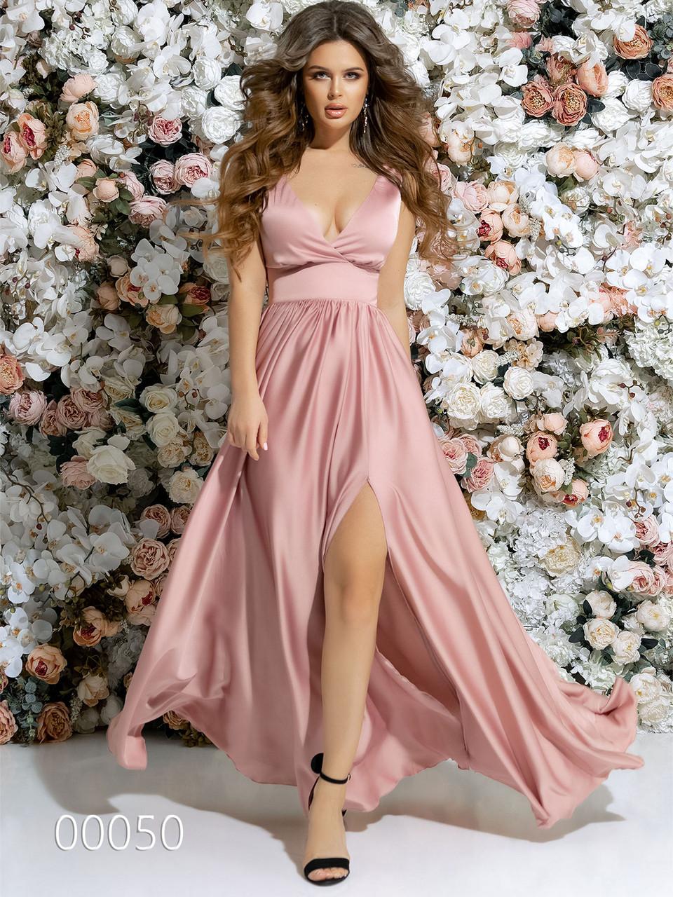 Платье в греческом стиле из шелка в пол, 00050 (Розовый), Размер 46 (L)