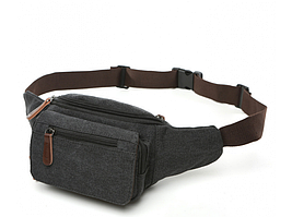 Черная мужская сумка на пояс Tiding Bag 8836A
