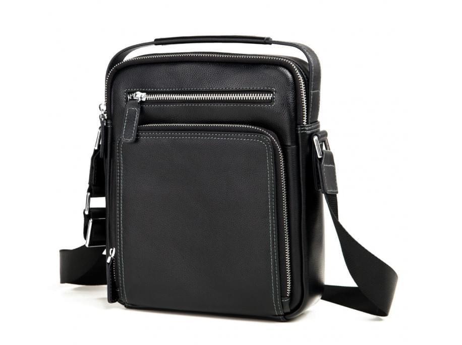 Черный кожаный мужской мессенджер Tiding Bag M737-1A