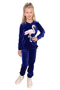 Детский бархатный костюм с фламинго