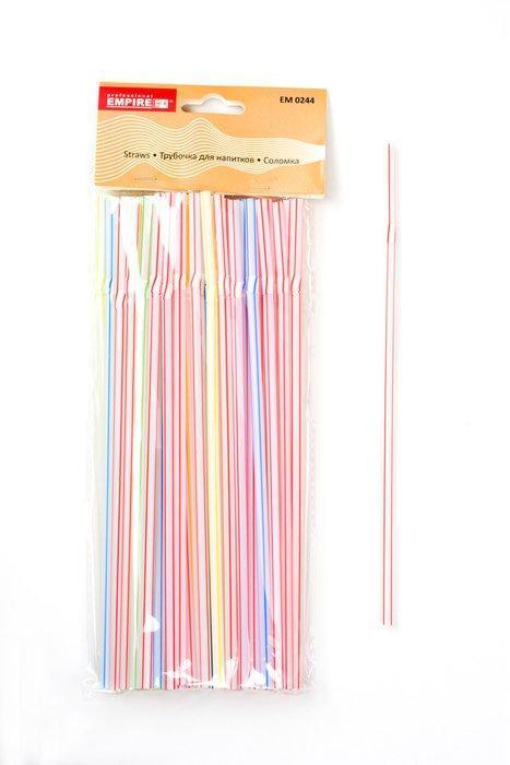 Трубочка пластиковая с изгибом разных цветов L 210 мм (уп 50 шт)