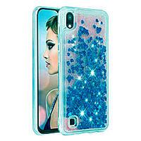 Чехол Glitter для Samsung Galaxy A10 2019 / A105 бампер Жидкий блеск Синий