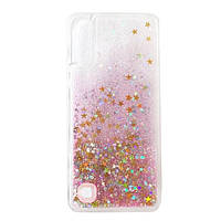 Чехол Glitter для Samsung Galaxy A10 2019 / A105 бампер Жидкий блеск звезды Розовый