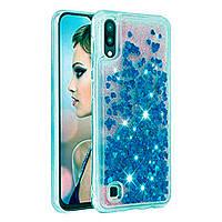 Чехол Glitter для Samsung Galaxy M10 / M105 бампер Жидкий блеск Синий