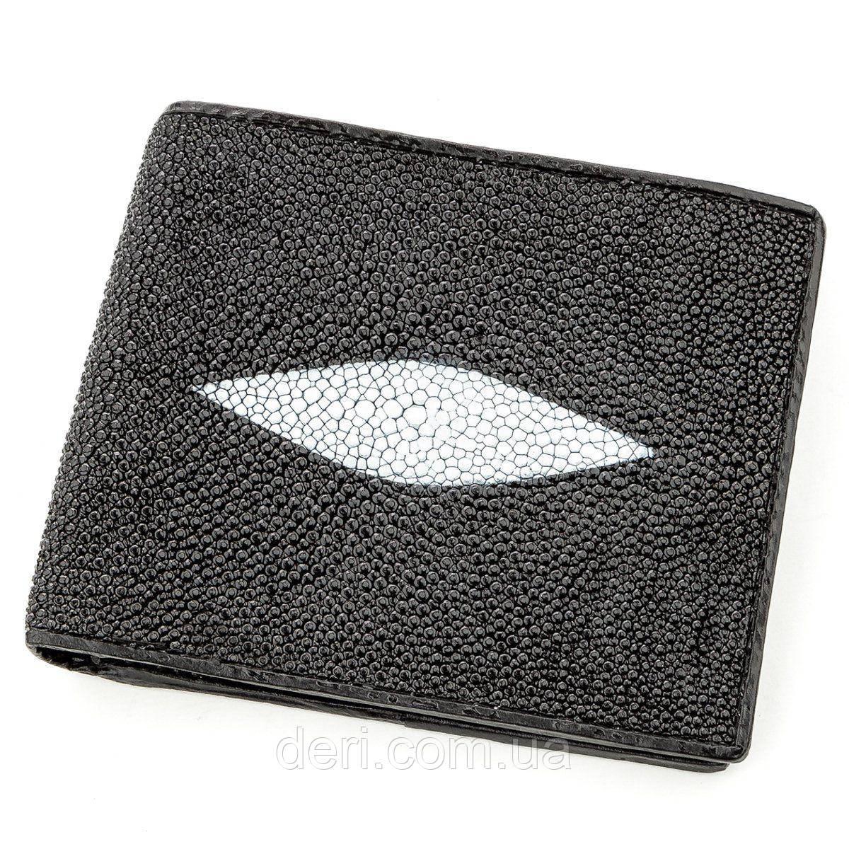 Бумажник мужской STINGRAY LEATHER из натуральной кожи морского ската Черный, Черный