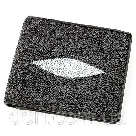 Бумажник мужской STINGRAY LEATHER из натуральной кожи морского ската Черный, Черный, фото 2