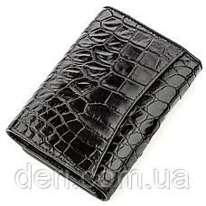 Бумажник мужской CROCODILE LEATHER из натуральной кожи крокодила Черный, Черный, фото 2
