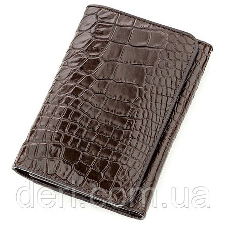 Бумажник мужской CROCODILE LEATHER из натуральной кожи крокодила Коричневый, Коричневый, фото 2