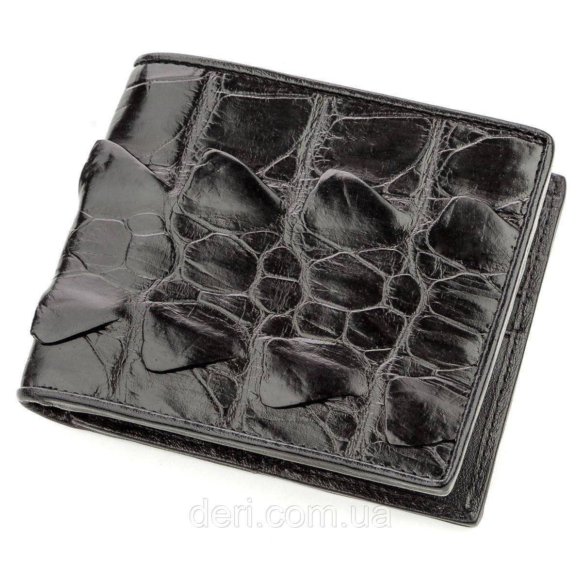 Бумажник мужской CROCODILE LEATHER 18583 из натуральной кожи крокодила Черный, Черный