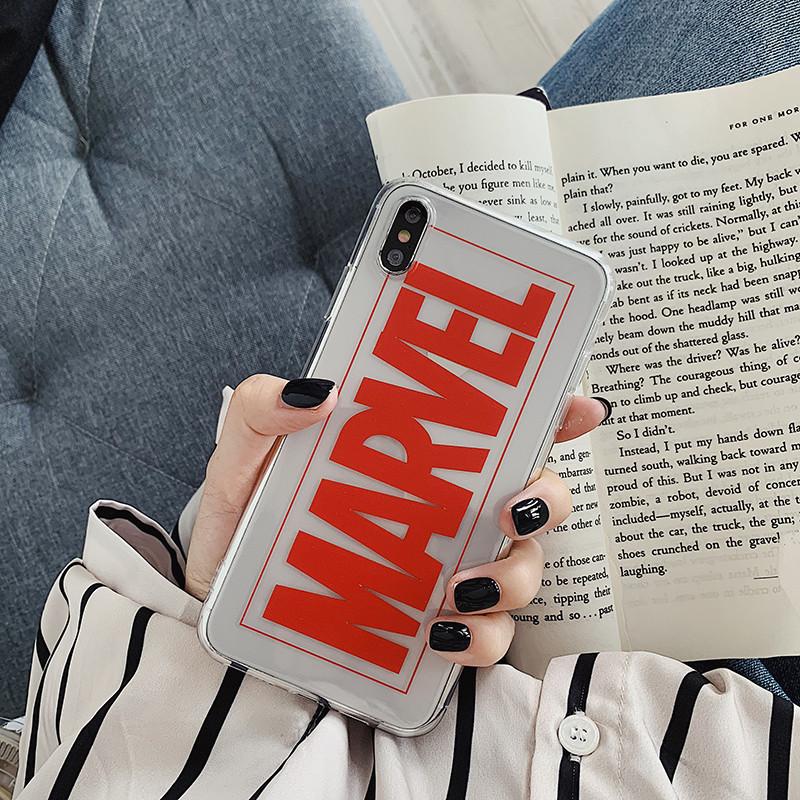 Чехол Case Title Marvel Red Transparent / Чехол Марвел Красный для Apple IPhone Xr