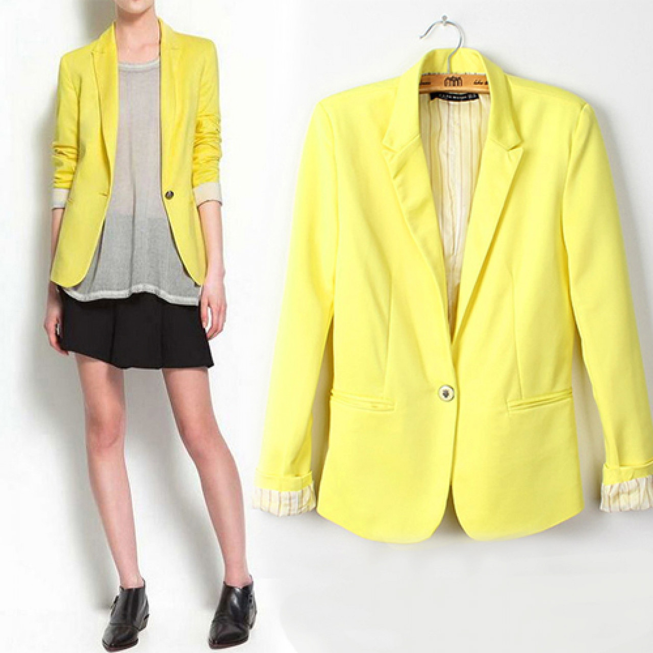 Желтый яркий женский пиджак 11430