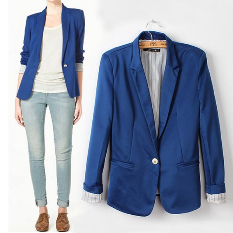 Стильный синий женский пиджак 11430