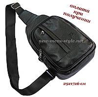 Мужская чоловіча спортивная кожаная сумка слинг рюкзак бананка DIWEILU