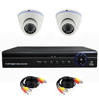 Готовый комплект AHD видеонаблюдения 720P для самостоятельной установки с 2-мя купольными камерами