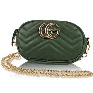 Женская сумка в стиле Gucci с логотипом зеленая 141142