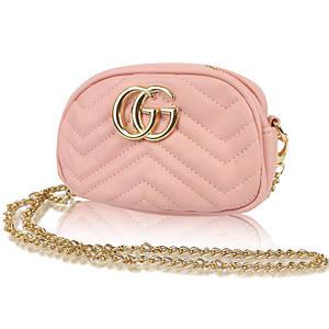 Женская сумка в стиле Gucci с логотипом пудровая 141144