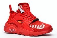 Мужские кроссовки Nike Air Huarache x Off-White (найк хуарачи x офф вайт, красные)